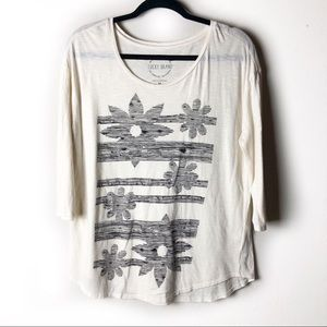 Lucky Brand 3/4 Sleeve Floral Graphic Tee